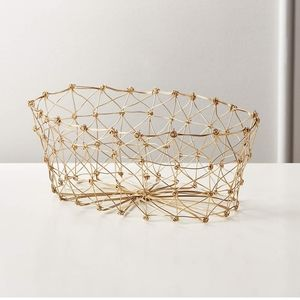 Cb2 Knot Gold Bread Basket NWT